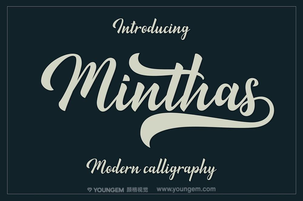 复古连体艺术商标logo设计手写英文字体下载图片