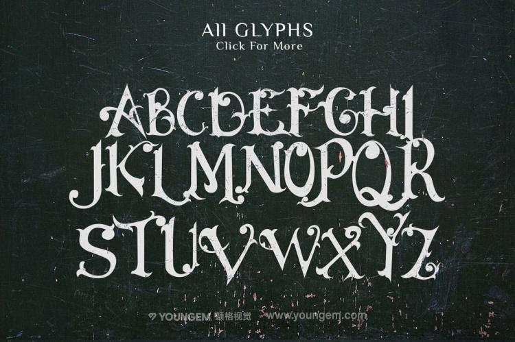 T恤印刷杂志贺卡封面装饰英文字体设计模板