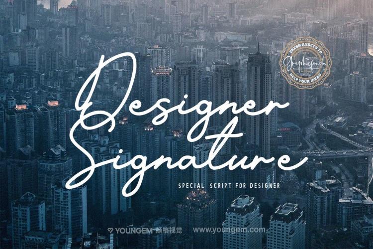 海报杂志封面连字艺术签名英文字体下载图片