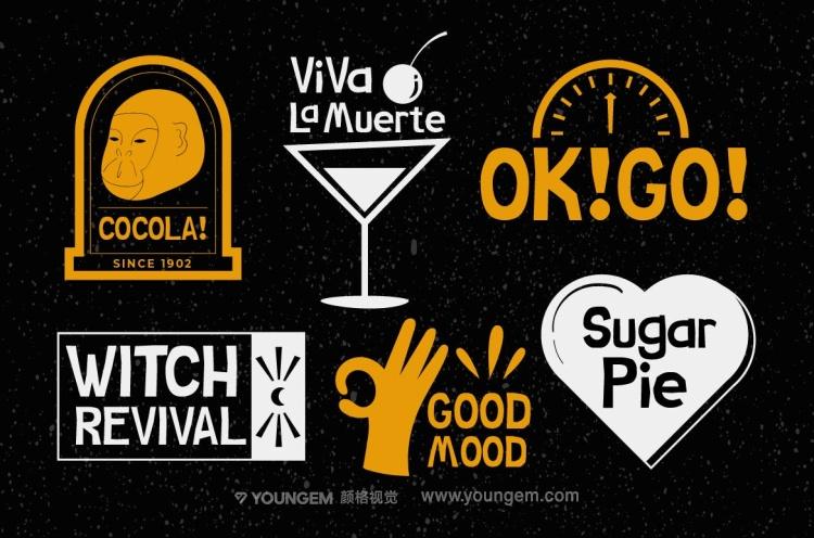 T恤服饰包装商标logo设计英文字体下载(含图片包)模板