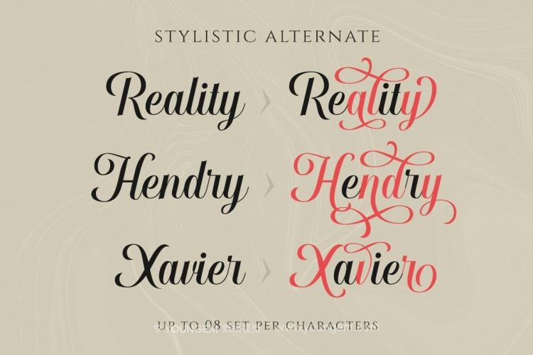 优雅豪华浪漫杂志广告商标签名花式英文字体素材
