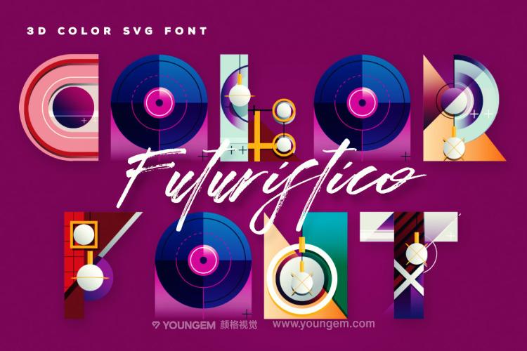 创意多彩装饰艺术英文字体_未来几何装饰艺术英文字体下载图片