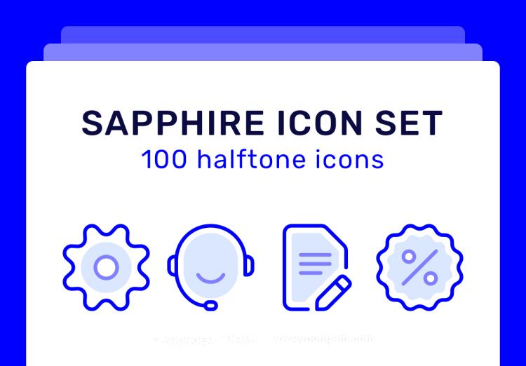 100个蓝宝石设计风格网站icon小图标素材下载图片