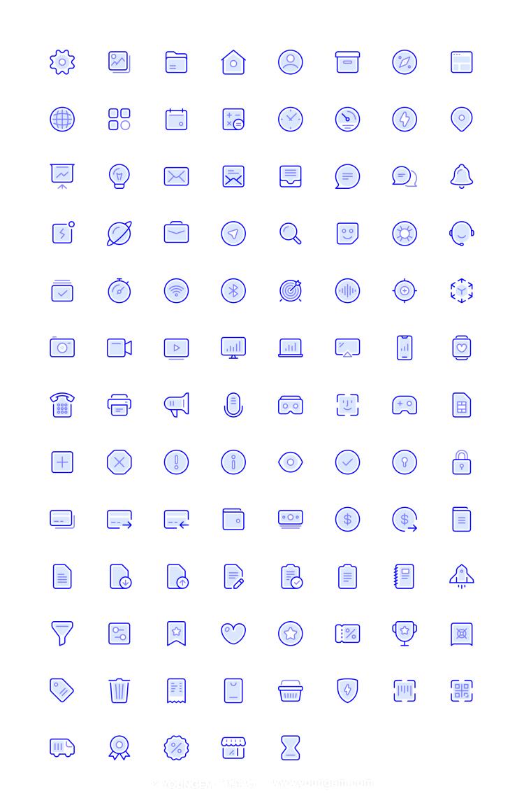 100个蓝宝石设计风格网站icon小图标素材下载素材