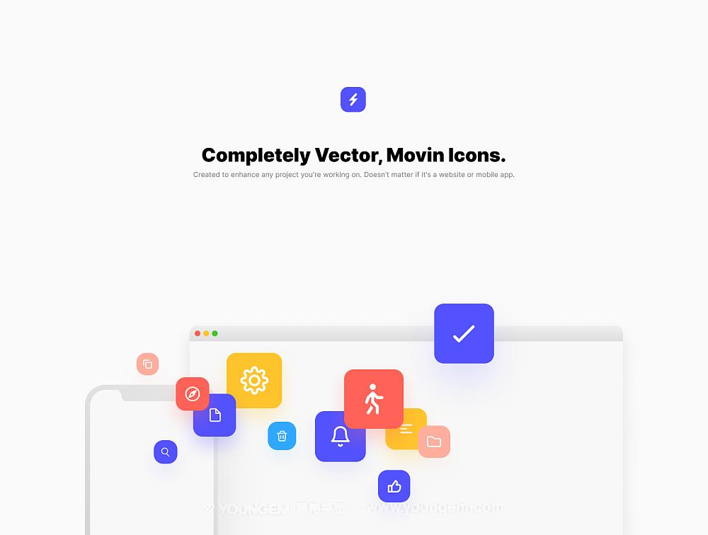 精美简洁的动画矢量网站icon图标下载图片