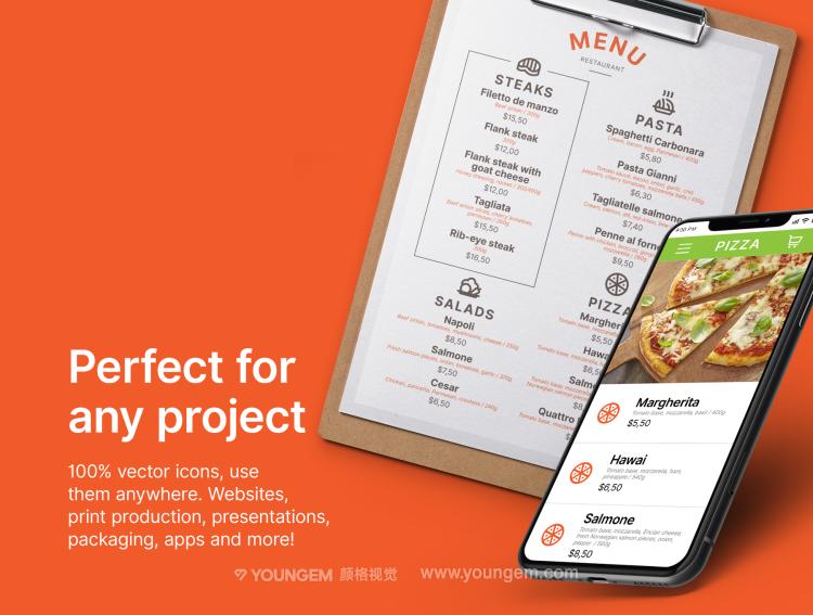 30款简洁的餐饮手机icon图标下载图片