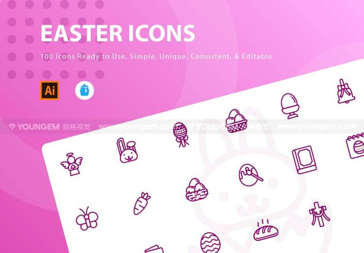 18款复活节彩蛋元素应用icon图标下载图片