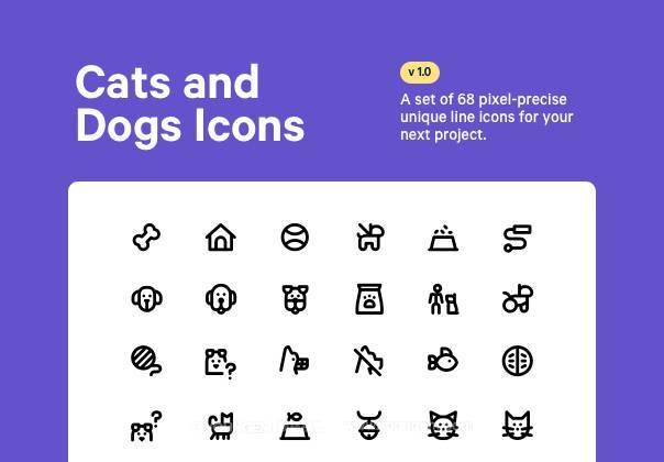 68款猫狗动物系列线性icon图标图片
