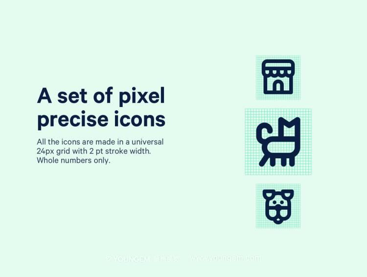 68款猫狗动物系列线性icon图标素材