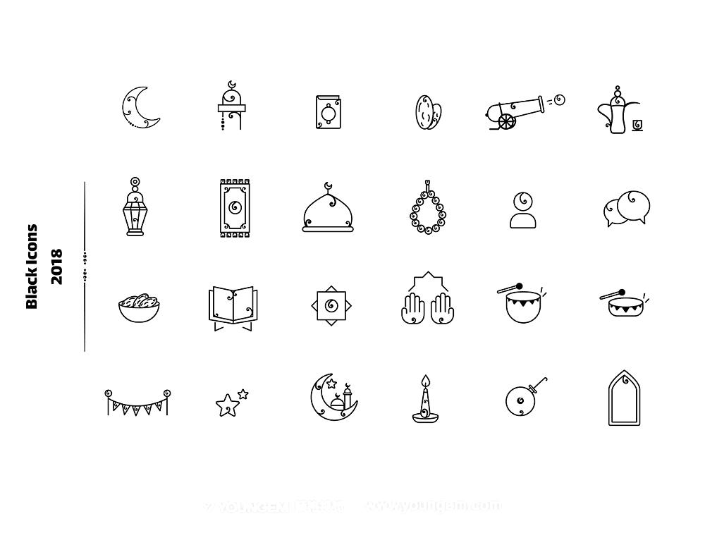 11款阿拉伯设计风格图标素材模板
