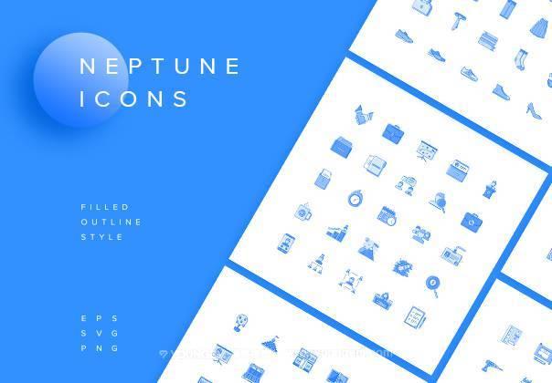 1000款多用途系统应用线面结合icon图标图片