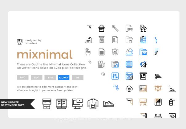 2755款迷你应用程序界面线性icon图标图片