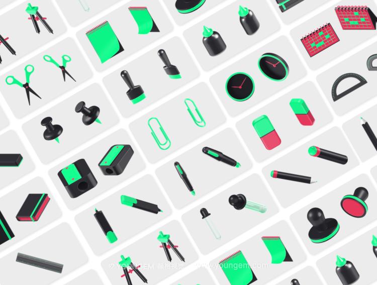 25个3D办公文具序小图标icon素材素材