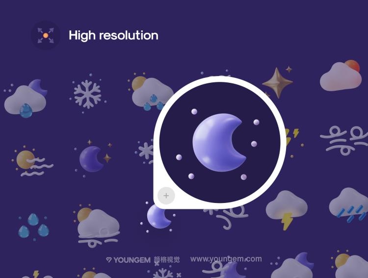 50多个3D天气小图标icon素材sketch文件下载模板
