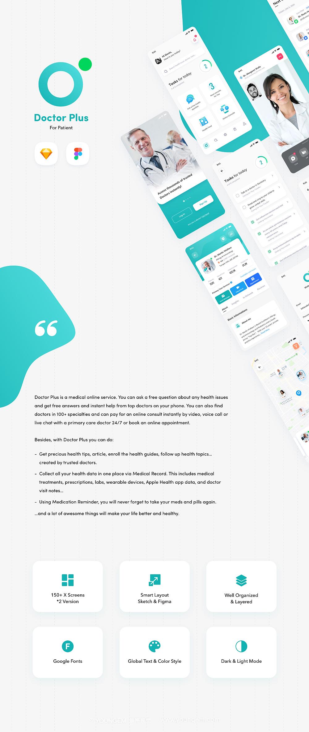 在线门诊医疗应用app界面UI设计素材图片