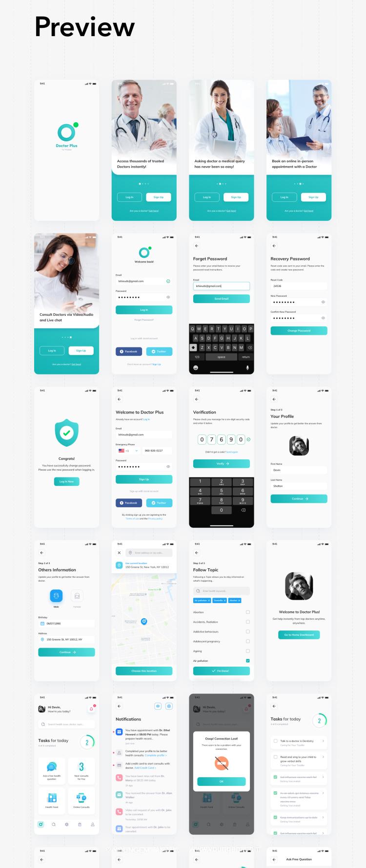 在线门诊医疗应用app界面UI设计素材素材