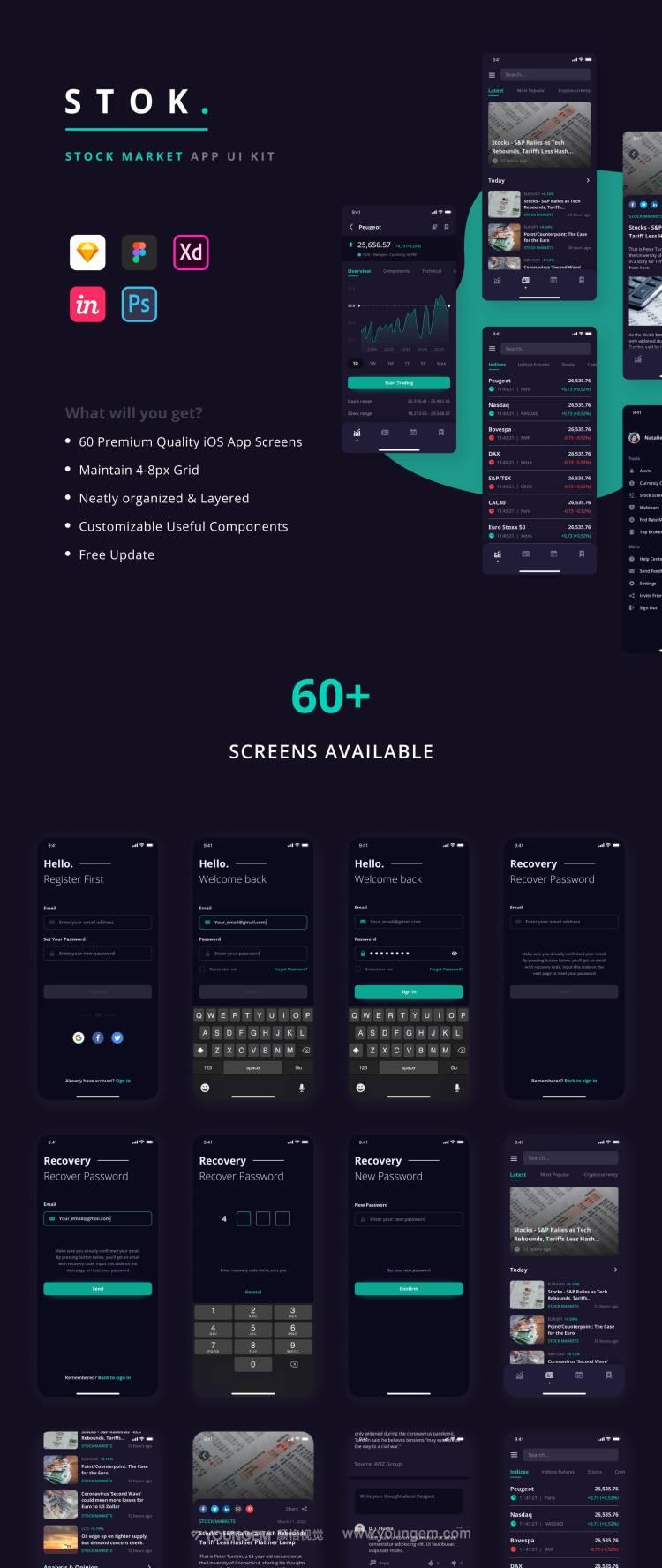 股票应用手机App界面设计_股市分析ui设计素材图片