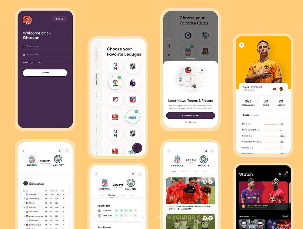 体育赛事直播app界面设计_体育竞技资讯平台ui设计模板