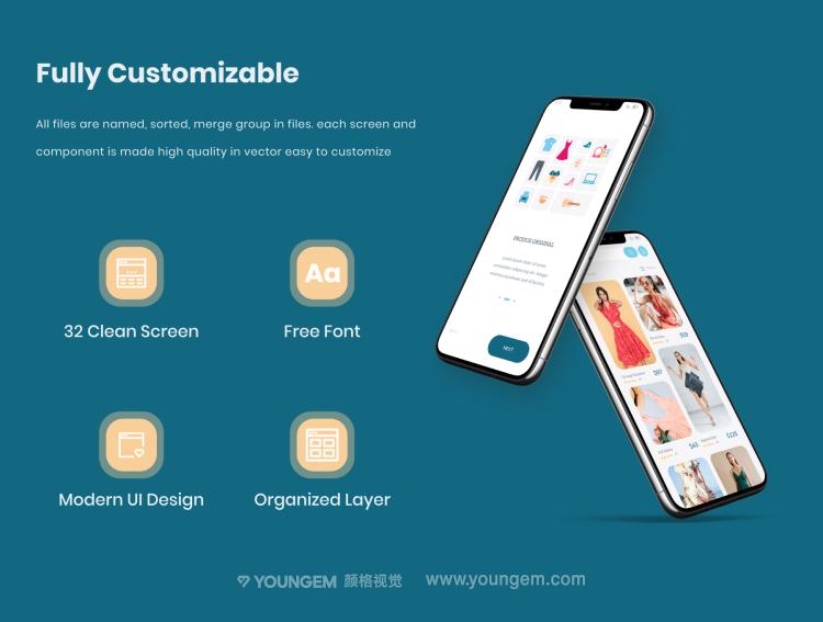 32张现代精美移动电子商务手机用户界面ui设计套件素材