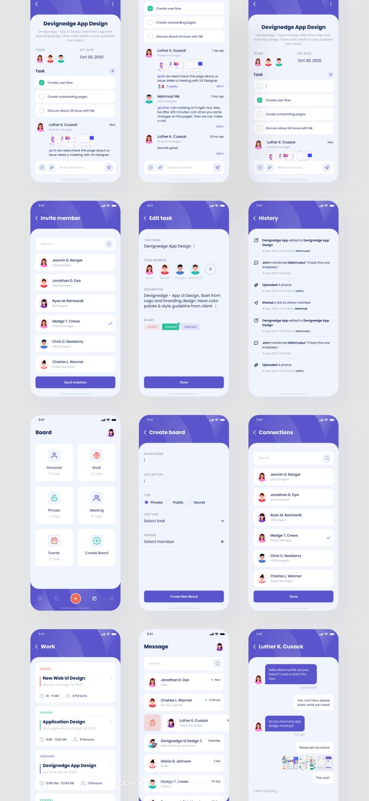 任务管理办公工具app应用程序UI套件模板