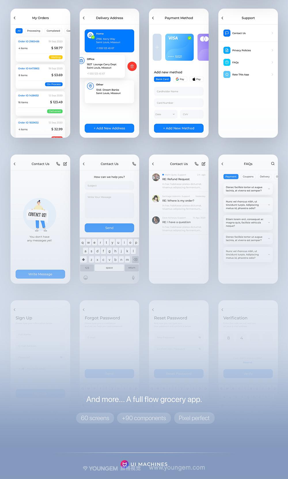 移动杂货食品电商手机应用程序高质量app用户界面ui设计套件模板
