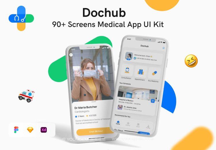 92张移动医疗应用程序ui套件_医药电商app用户界面设计素材下载图片