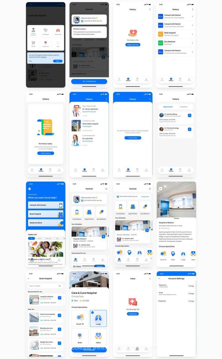 92张移动医疗应用程序ui套件_医药电商app用户界面设计素材下载模板
