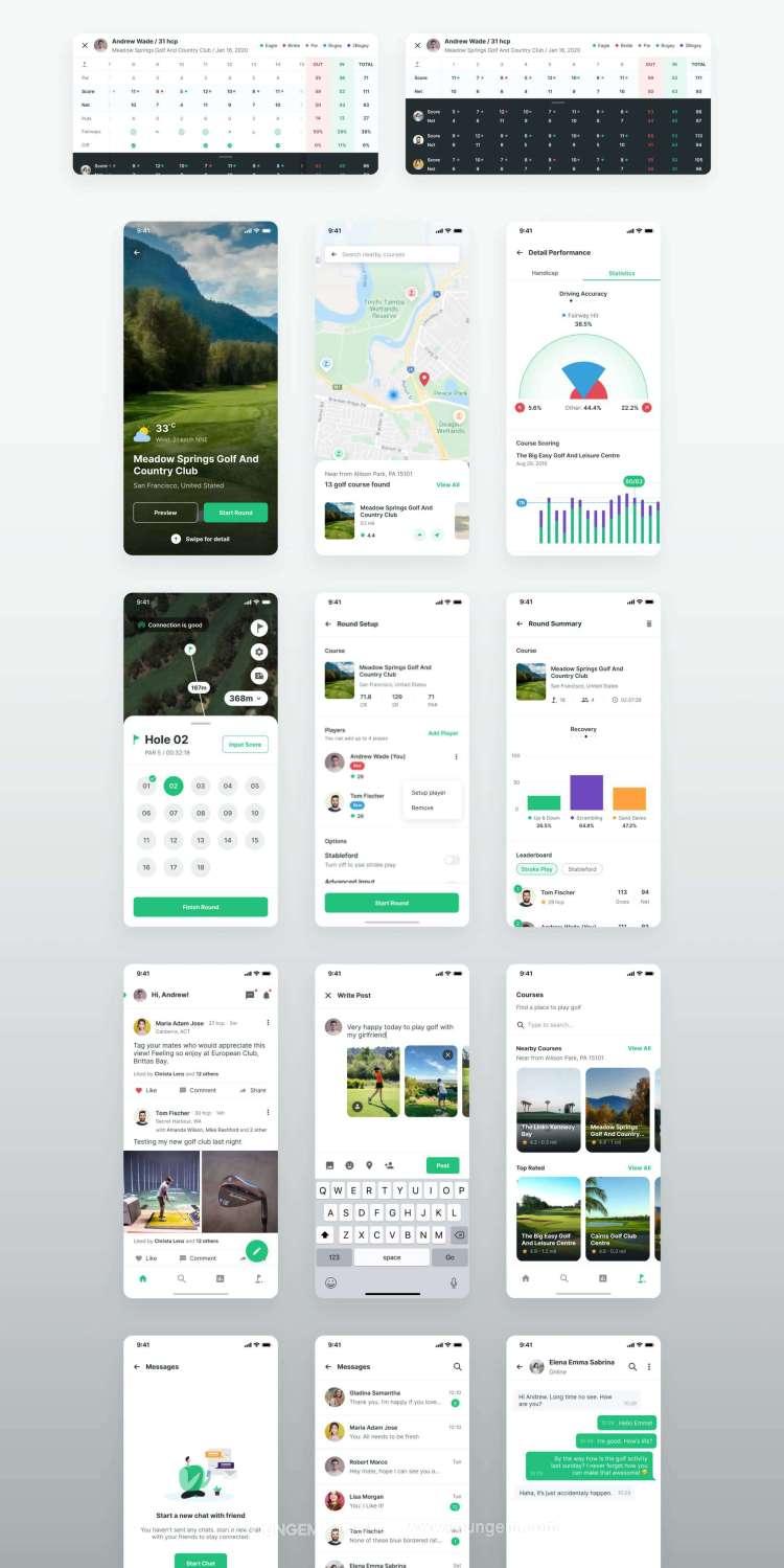 高尔夫比电子裁判ui套件_高尔夫赛事app用户界面设计素材下载素材