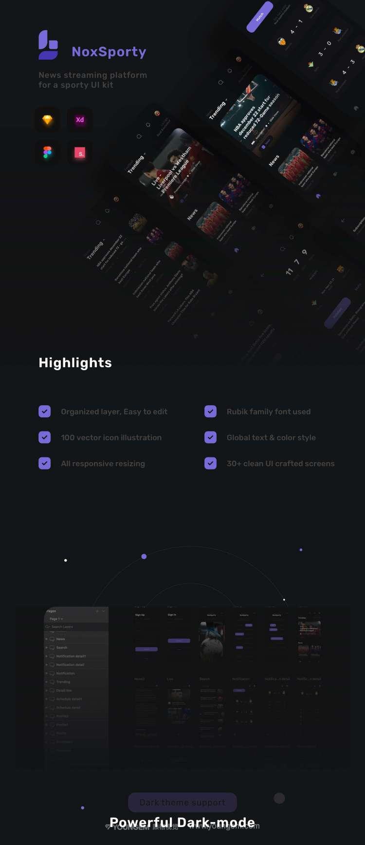 体育新闻应用程序ui套件_体育资讯平台app用户界面设计素材下载图片