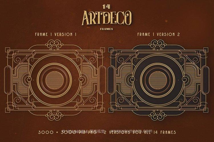 14款ArtDeco现代工业装饰机械几何边框背景底纹png免抠设计素材模板